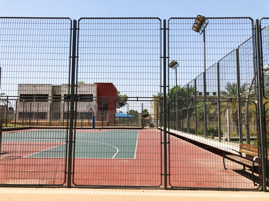 Fenced in Basketball Court