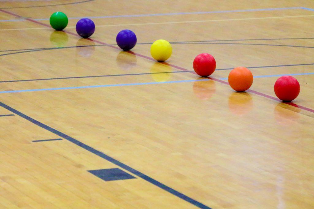 Dodgeballs on sport court